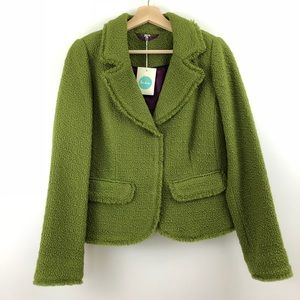NWT Boden Green Boucle Wool Blazer